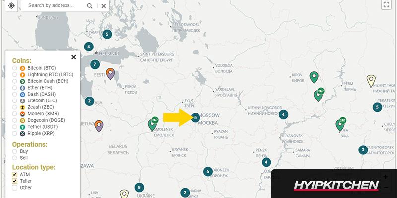 Биткоин банкоматы в Москве карта