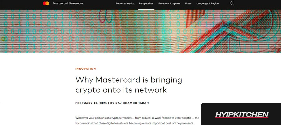 Mastercard добавит поддержку криптовалют